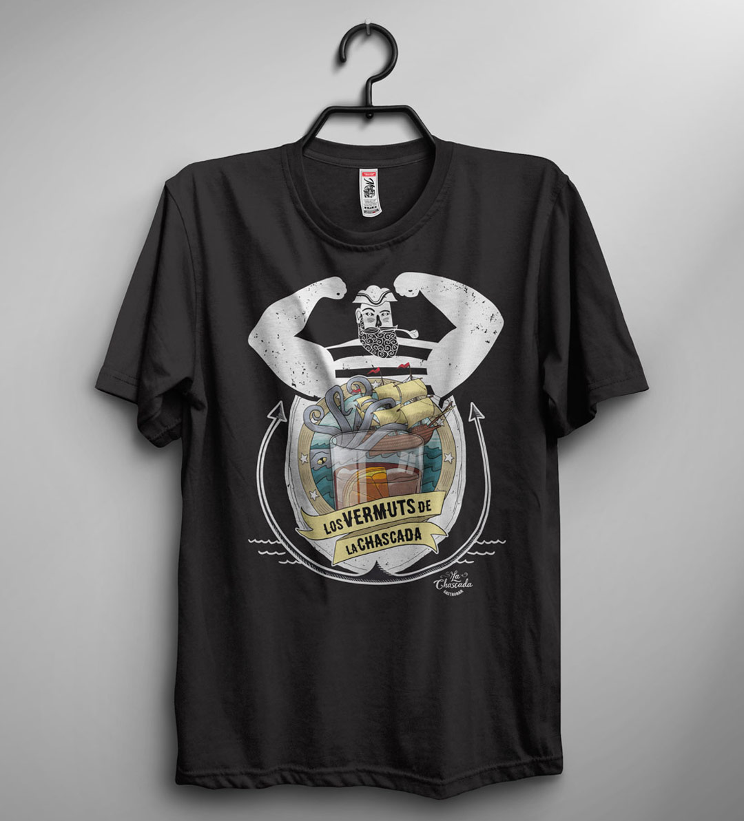 imagen corporativa camiseta negra chascada gastrobar