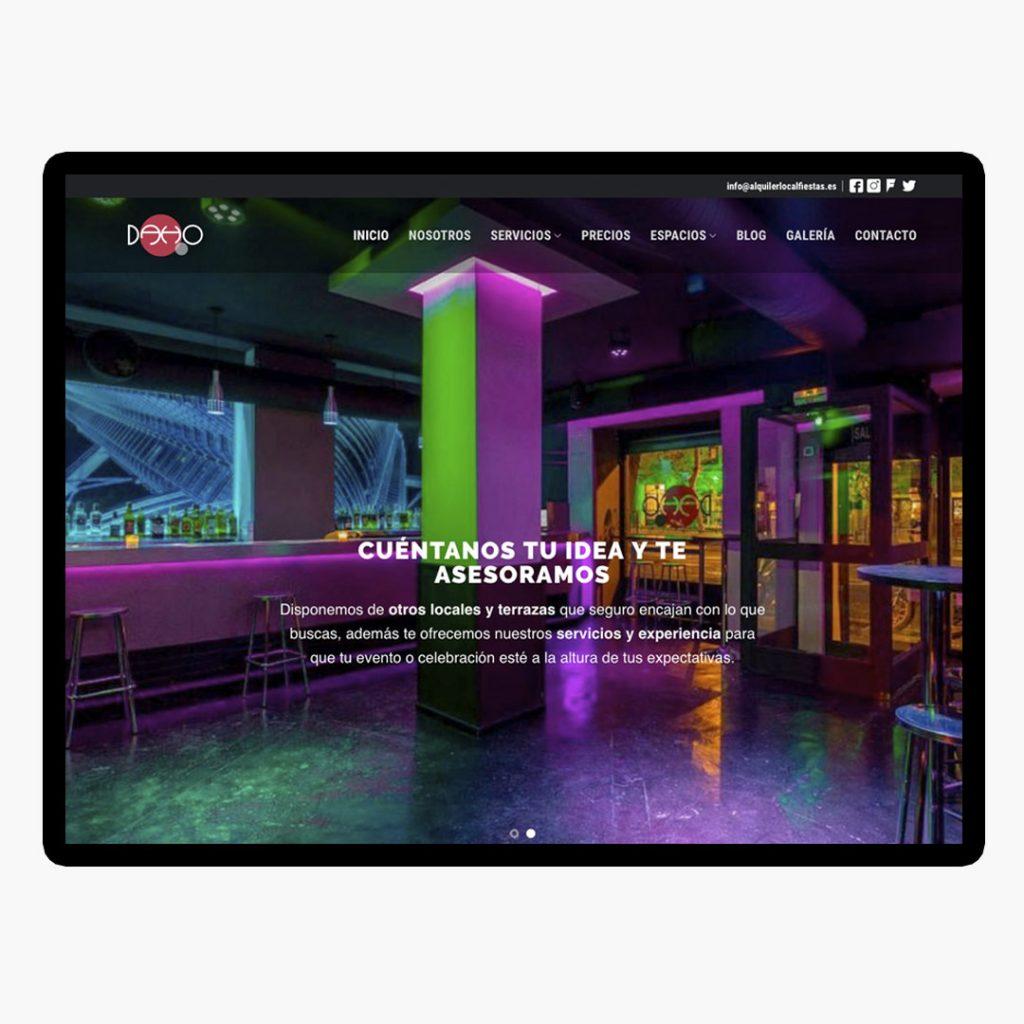 Diseño Web Alquiler de Locales para Fiestas