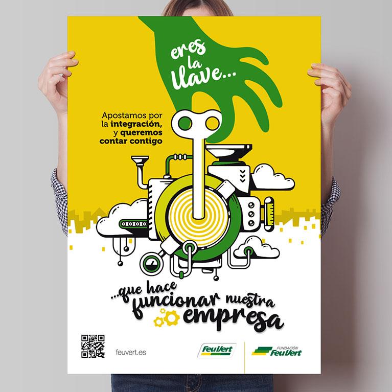 diseño grafico cartel feria empleo personas discapacidad feu vert