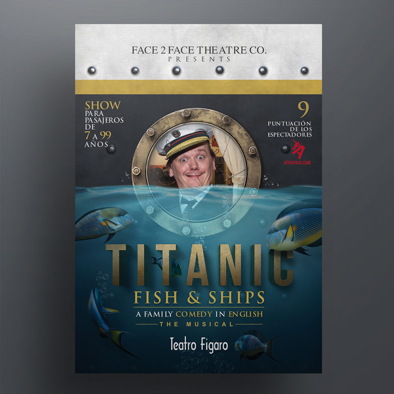 diseño grafico cartel titanic fish and ships