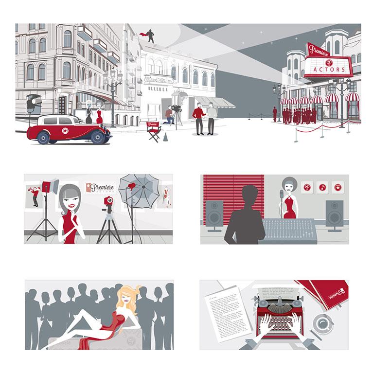 imagen corporativa ilustraciones premiere actors