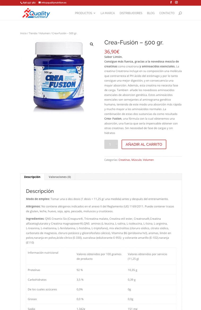 diseno web pagina producto Quality Nutrition
