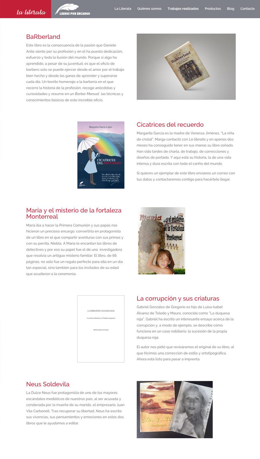 diseno web productos la literata