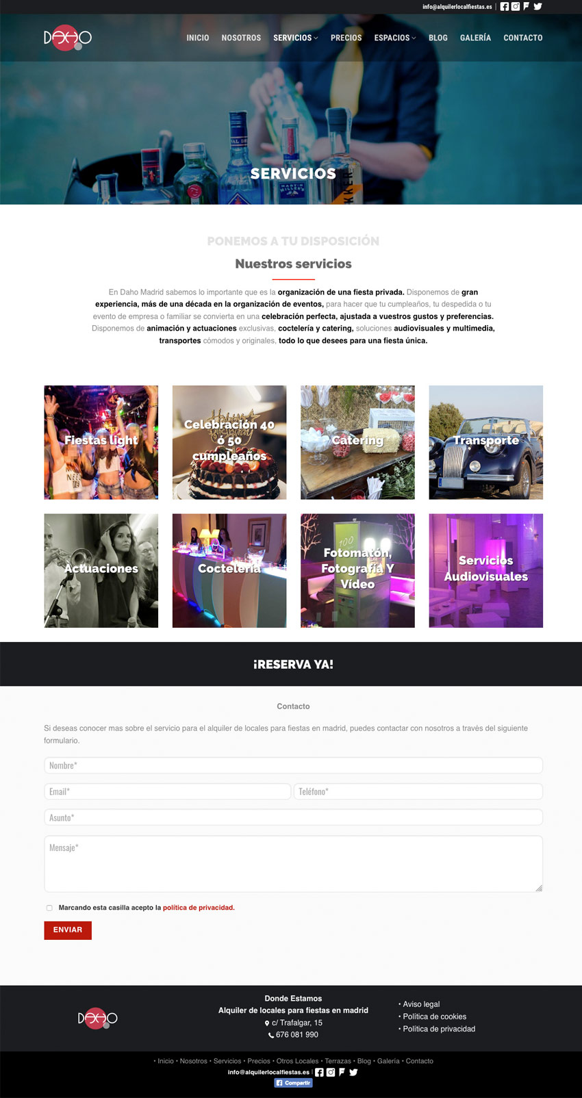 diseno web seccion alquiler locales fiestas