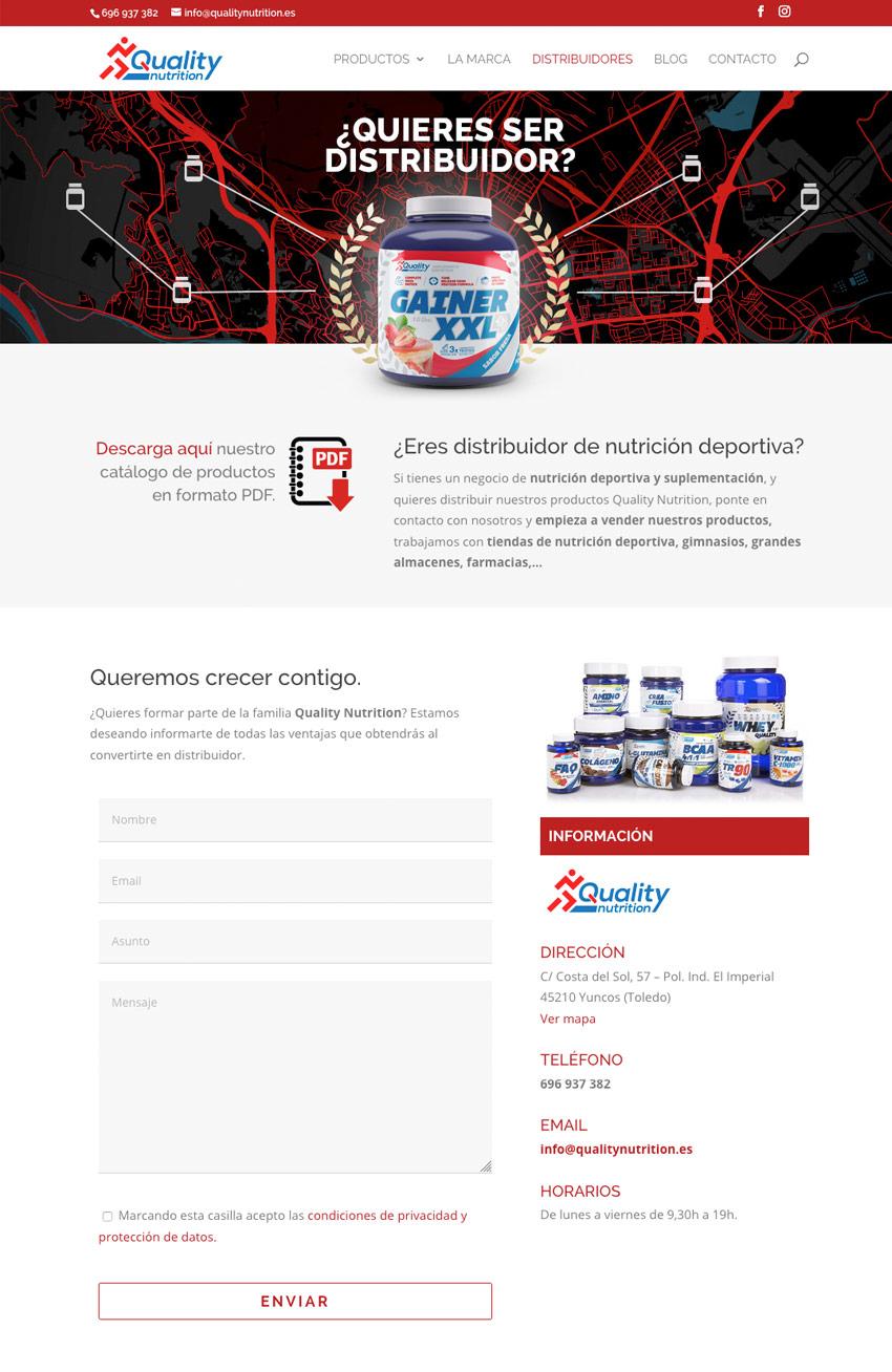 diseno web seccion Quality Nutrition