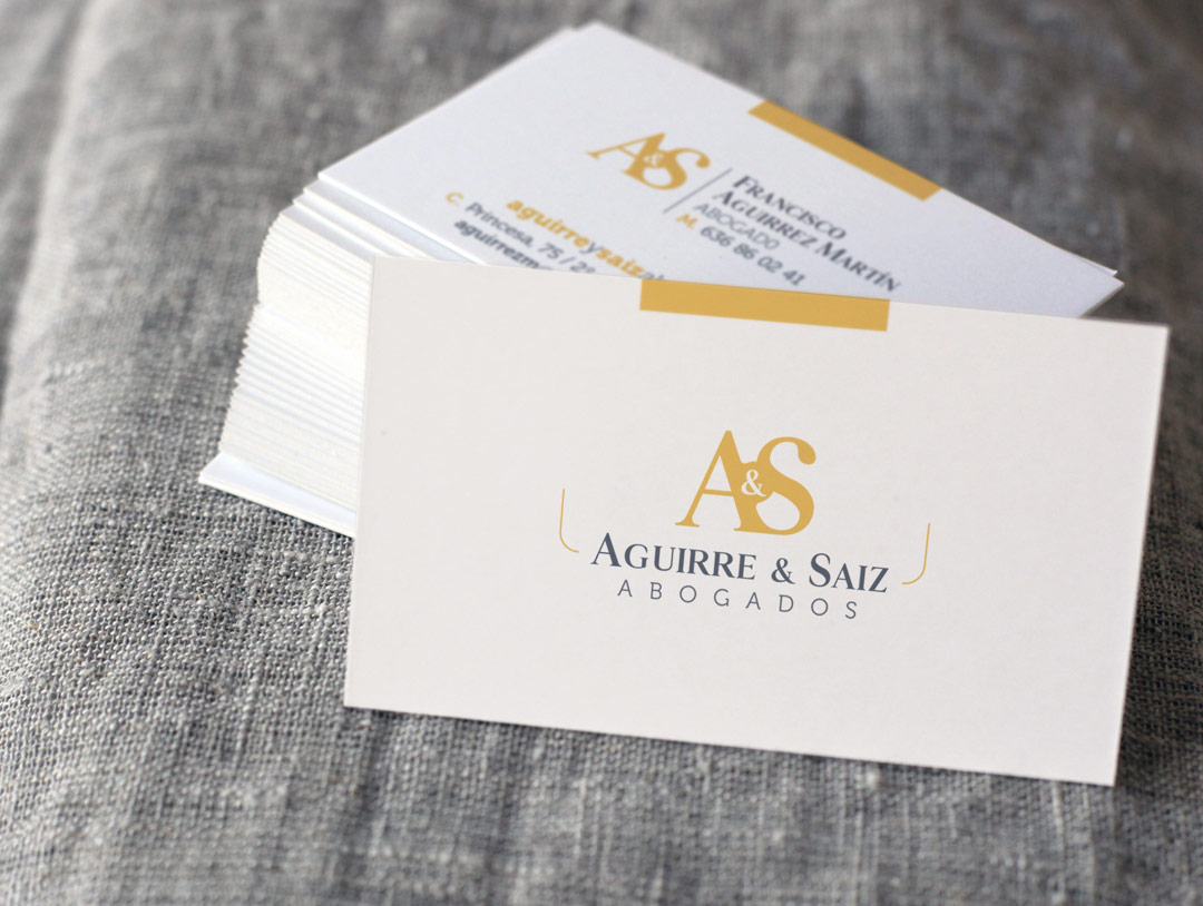 imagen corporativa tarjetas visita aguirre & saiz