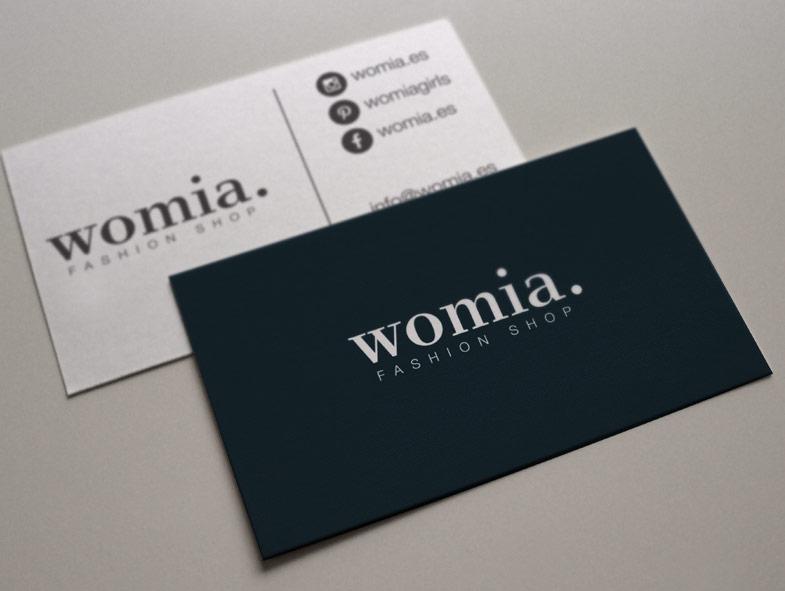 imagen corporativa tarjetas womia