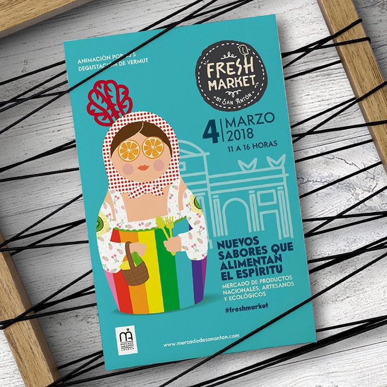 diseño grafico cartel fresh market mercado san anton