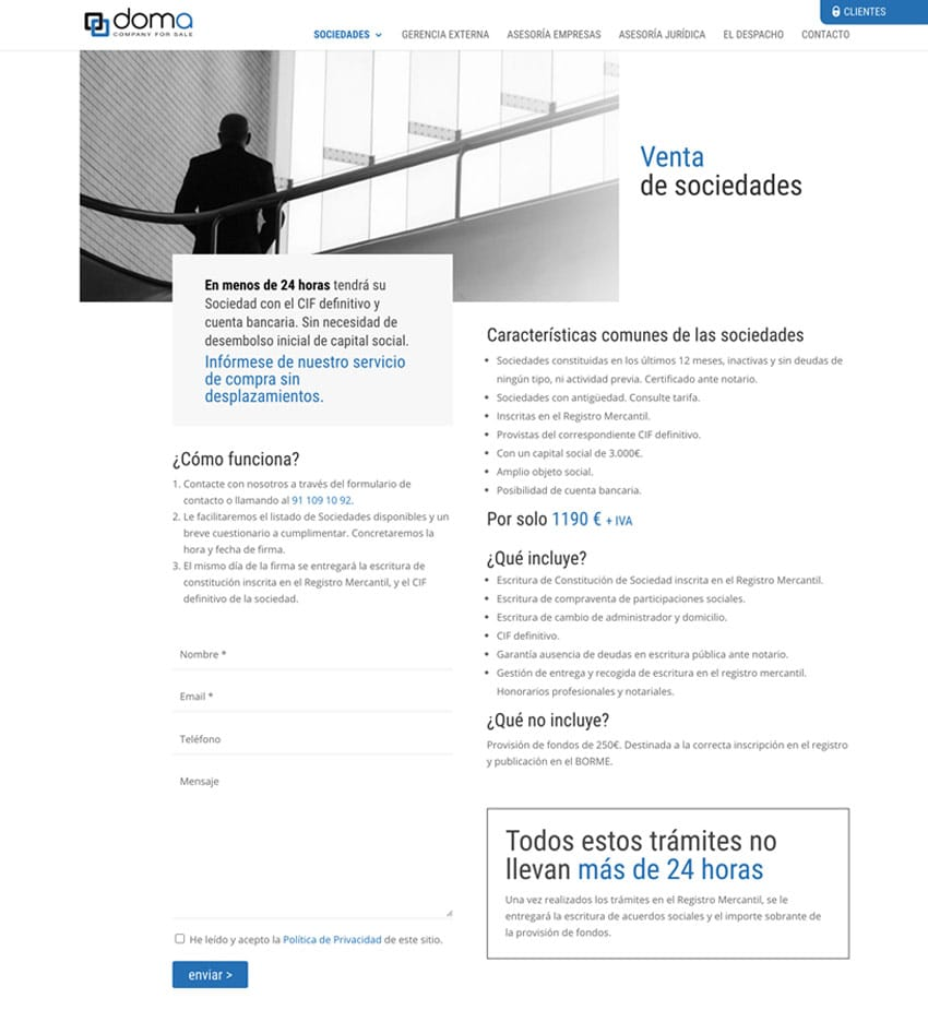 Diseño Web en Madrid Doma Company for Sale