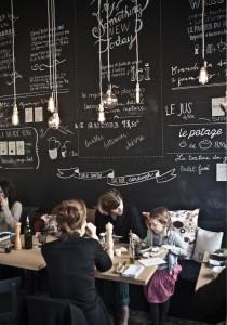 Cafeteria Bruselas decoración pared