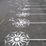 Street Art - Dibujo tiza aparcamiento