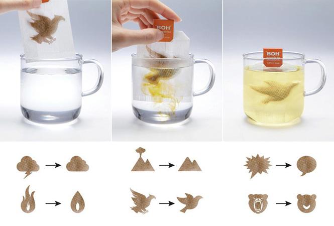 Packaging interactivo: La relajación por efectos del té interpretada en dos imágenes