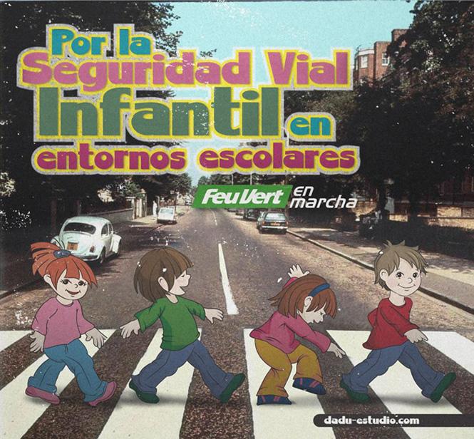 Versión Feu Vert en Marcha de porta de Beattles Abbey Road por la seguridad vial en entornos escolares