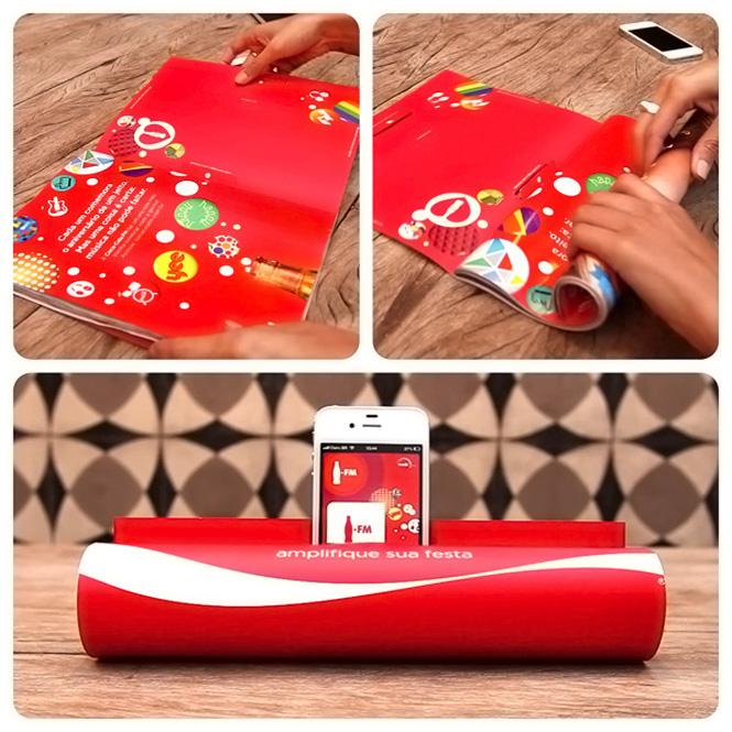 Publicidad con ingenio de Coca Cola en Brasil: convertir revistas en altavoces para Iphone