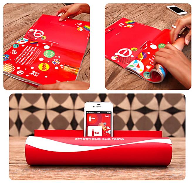 Publicidad con ingenio de Coca Cola en Brasil: Convirtiendo revistas en altavoces para Iphone