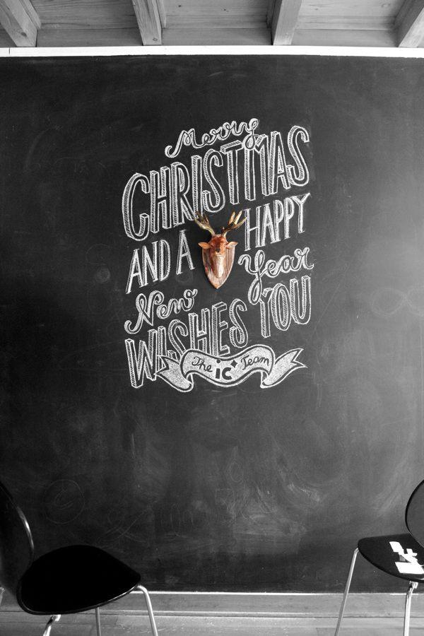 felicitacion navidad pizarra pared